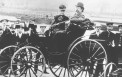 <p>Bertha and Carl Benz on one of his inventions</p>