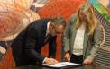 <p>Stefano Domenicali, Chairman & Chief Executive Officer of Automobili Lamborghini, signs agreement with MIT-Italy Program co-Director Serenella Sferza.</p>