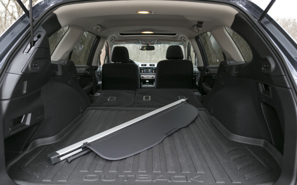 <p>Subaru starts with an impressive 1,005 litres of cargo capacity, a full 144 litres more than VW behind the rear seat.  Just where is it exactly?  We couldn't figure it out.  Maybe in its wider hips. Subaru's maximum capacity becomes 2,075 litres with the rear seats folded down.</p>