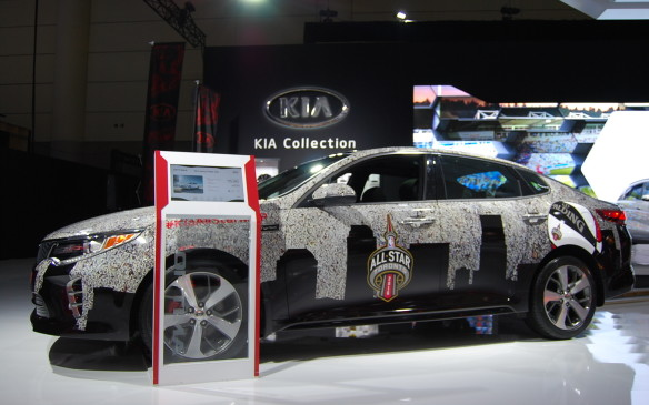 "<p>For those ""sports"" car fans - Kia comes through with another vehicle wrapped in support of the NBA this time.  Its fitting, since the NBA All-Star game took over the same week as the show.</p>"