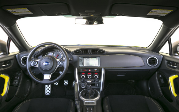 <p>Although subtly updated for 2017, the BRZ's cabin reveals the car's older design, and some cost-cutting materials to keep the MSRP down. There are more trim pieces covered in softer vinyl and plastics than before, but there is still lots of room for improvement, even for a car as affordable as this.</p>