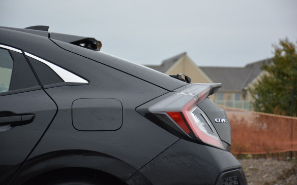 <p>Aerodynamics of the Civic hatch have been retuned, especially beyond its C-Pillar, to expedite airflow beneath the body, helping it achieve a low drag coefficient.</p>
