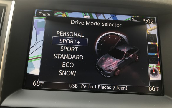 <p>There are six different drive modes selectable with a switch on the centre console, which is at least one more mode than most other cars. The Q50 can be adjusted between Standard, Sport, Eco, Snow, and Individual, with Sport-Plus available on the Sport and Red Sport. Each mode varies the throttle response, transmission shift points, dynamic suspension, steering firmness, and active trace control, which uses individual brakes to improve control through corners.</p>