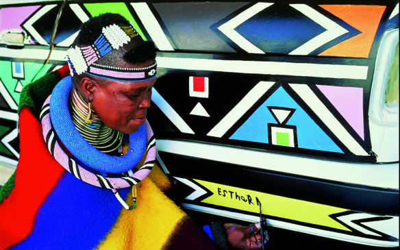 <p>Mahlangu was the first non-Western and the first female artist to design one of the BMW Art Cars. Her car was exhibited at the National Museum of Women in the Arts in Washington, DC in 1994.</p>