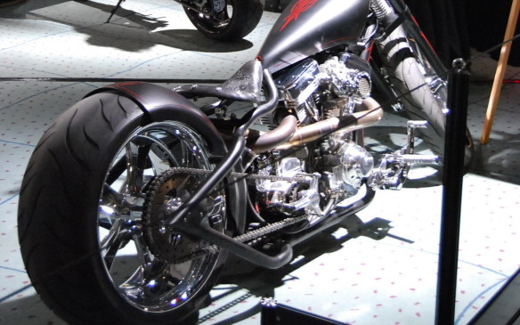 <p>For those show patrons who can't wait for the white stuff to melt and riding season to start, there are a few bikes scattered across the show floors, complete with some custom builds by Hot Rods & Choppers builder Kreator in the South Building.</p>