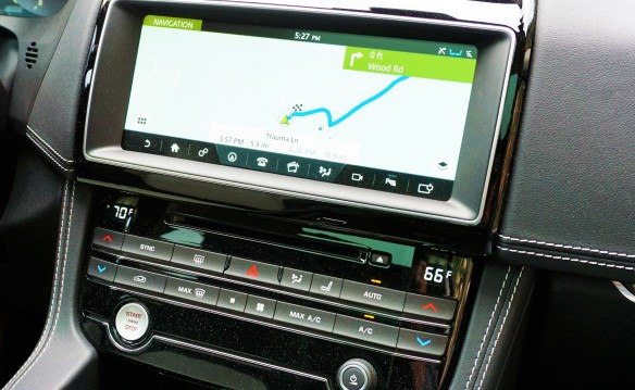 <p>On either vehicle an 8-inch touch-screen is standard (InControl Touch in Jaguarspeak) and a 10.2-inch screen (InControl Touch Pro seen here) optional, with pinch-to-zoom and swipe functionality. Either way the screen controls audio, Bluetooth/phone connectivity, and navigation. It can also control HVAC, or you can use the bank of conventional buttons below.</p>