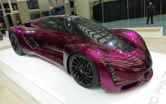 <p>Visitors entering the South Hall were greeted by the spectacular new version of the Blade, the most recent version of a supercar built with components fabricated with the revolutionary 3D printing (or additive) technology process developed by Divergent 3D, a firm based in Los Angeles.</p>