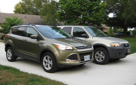 2013 Ford Escape - with 2005 Escape, front 3/4 views