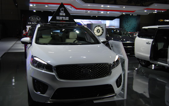 <p>The Automobile Journalists Association of Canada displays car toppers to identify its winners each year at the show.</p>