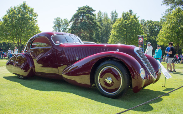 <p>Exotics from an earlier era included this one-of-a-kind 1932 Alfa Romeo 8C2300 with aerodynamic bodywork by Viotti – part of the private California collection of Arturo and Deborah Keller, who were honored as collectors of the year and brought several of their cars for display only.</p>
