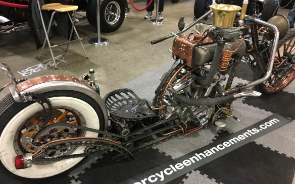 "<p>The ""Steampunk"" rat bike certainly qualifies as unique. Its truss frame is like no other in the cycle world – and its other numerous features, such as the Canadian Club whisky bottles with LED lights that have been transformed into turn signal indicators, definitely make it one of a kind.</p>"