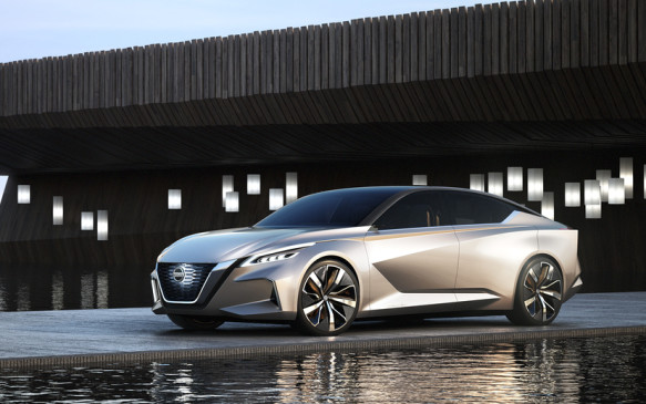 <p><strong>Nissan Vmotion 2.0 Concept –</strong> Nissan's Vmotion 2.0 Concept signals the future design direction for the brand's sedan line-up. Featuring a deeper and more dramatic evolution of the V-motion front design, the concept also shows crisp character lines that add depth and volume to the exterior. It also hints at the company's vision for the future of mobility through a concept called the Nissan Intelligent Driving system that gives a preview of what autonomous driving capabilities might entail.</p>