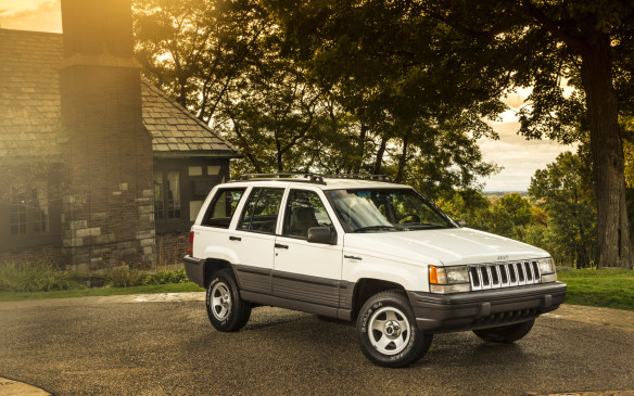<p>Five years later, then under Chrysler ownership, the Cherokee offered a larger version called the Grand Cherokee, which debuted by crashing through a plate-glass window at the 1992 Detroit auto show.</p>