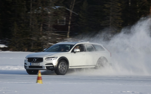 <p>Never-ending, four-wheel slides were the order of the day, especially around the long sweepers at either end of the outer slalom course carefully traced and groomed by our Swedish hosts on beautiful Lake Ånnsjön. The V90 Cross Country's fifth-generation BorgWarner electronically-controlled all-wheel drive system (formerly known as Haldex) works best when the front wheels are pointed straight. It then sends up to 70 % of engine torque to the rear wheels for maximum forward thrust and sweet handling on ice. Journalist Matt Bubbers is at the wheel here, with tuque and open window, in true Canadian style.</p>