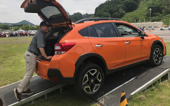 <p>It was also more sure-footed, keeping the wheels against the ground on the bumpiest of tracks. Another engineer demonstrated how the new suspension keeps the Crosstrek flat and doesn't allow it to bounce more than necessary, even when one wheel is completely in the air.</p>