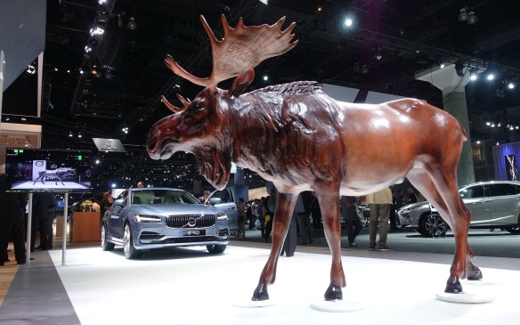 <p>The Swedish carmaker brought this life-size, if thoroughly synthetic moose to demonstrate the Large Animal Recognition capability now offered in the already comprehensive safety system suite of its new S90 sedans (shown) and V70 wagons. The award-winning XC90 crossover gets it too.</p>
