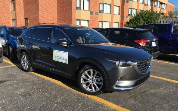 <p>The flagship utility vehicle in the Mazda lineup has been totally revamped and is just now arriving in dealers' showrooms. The model entered in EcoRun was the newly added premium Signature trim level with iACTIV all-wheel drive ($52,295.) The powertrain in the new CX-9 features a 2.5-litre SKYACTIV-G four-cylinder with direct injection and Mazda's dynamic pressure turbocharging technology, which eliminates turbo drag and enhances low- to mid-range torque. This new approach to turbocharging results in a torque output of 310 lb-ft at just 2,000 rpm. The horsepower rating is 227 on regular-grade gasoline, or 250 on premium 93 octane. The only transmission offered is a six-speed SKYACTIV-Drive automatic with a Sport mode. NRCan rates this seven-passenger crossover at 11.2 L/100 km city, 8.8 highway, 10.1 combined, although the Actual fuel consumption during EcoRun was 7.8.</p>