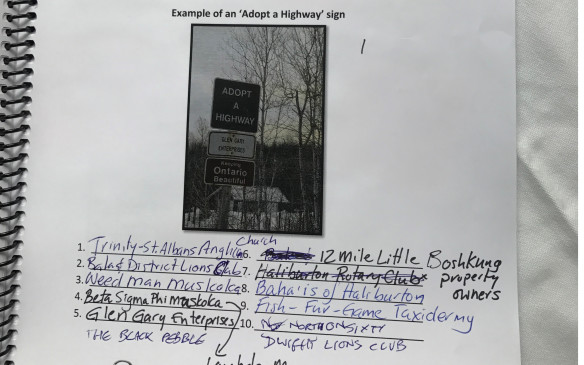 <p>We saw at least 20 Adopt A Highway signs. This was the easiest challenge of the day.</p>