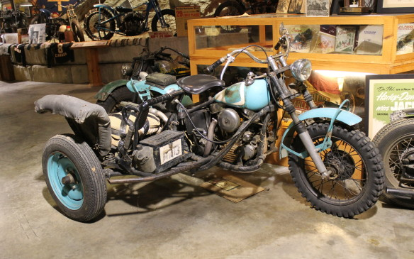 <p>This Harley with a sidecar was built for the 200-mile Jackpine race in Lansing, MI.</p>