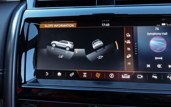 <p>A 10.2-inch touch screen is the heart of the Discovery's new InControl Touch Pro infotainment system, a clear improvement over its predecessor. Numerous control menus and a wealth of information are accessible through this interface, including five screens depicting your progress and the vehicle's status while driving off-road. The 14 degrees in ascent angle are nothing exceptional but 27 degrees in slope traverse angle is getting close to the Discovery's claimed maximum of 35 degrees.</p>