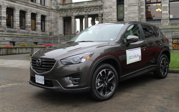 <p>Mid-sized crossovers are the most popular vehicle segment in Canada, and the Mazda is a big seller for the Japanese company. The EcoRun vehicle was the new 2016 version of the CX-5, and its updated interior and quiet performance made it an easy choice for the AJAC drivers. The 2.5-litre SkyActiv engine was frugal but fun, and left nobody wanting for more.</p>