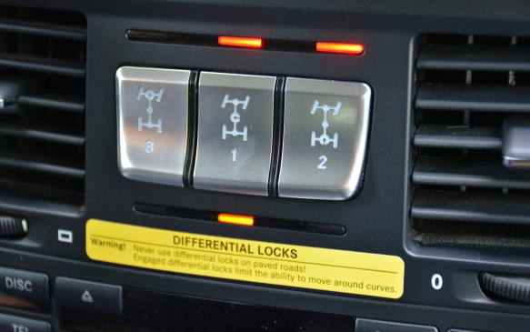 <p>To get this show rolling, we had to learn about our locking differentials. What separates the G-Class apart from many other large 4x4 SUVs is the fact that it has three locking differentials in total: centre, rear and front. The buttons are located in the centre console and each can be activated with a simple push of a button. </p> <p>There's an order to locking the differentials: it starts with the centre one, followed by the rear, and finally the front, but only under a challenging situation. We were in the centre lock differential for most of the time.</p>