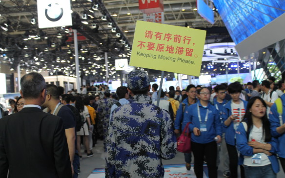 <p>Inside the show, it was hot and crowded and security guards worked to keep everything moving – though they often just seemed to add to the crowds.</p>