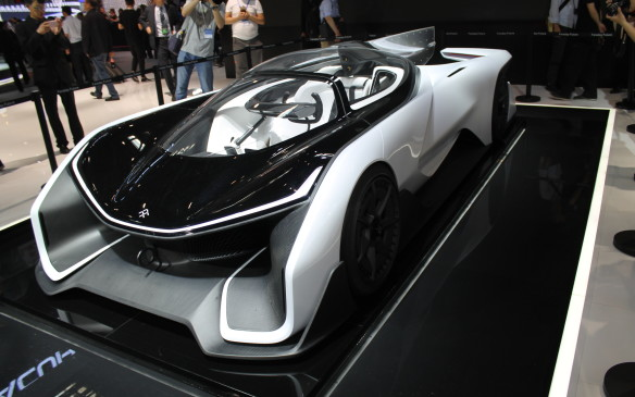 <p>California-based, Chinese-funded auto maker Faraday showed its all-electric, adaptable chassis supercar to a curious crowd. It was very hot and smoggy on press day, and the idea of an electric car was very appealing – even if this version is only a one-seater.</p>