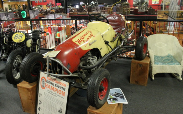 <p>Not every machine on display is a motorcycle – there are a few cars that the owner happens to like, including this Harley-engined midget racer. It's powered by an XA750 military engine and was built by Harry Molenaar, a Harley dealer in Indiana from 1932-1990.</p>