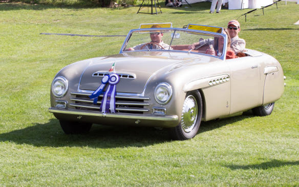 <p>The winner among a mixed bag of entries in a class designated European Post-War Thoroughbred was this one-of-a-kind 1946 Alfa Romeo 6C 2500 Pininfarina Cabriolet Speciale.</p>