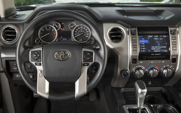 <p>The Tundra is available in double cab or crew cab configurations. It has four-wheel crawl control, four-setting multi-terrain select system and multi-terrain ABS.</p>