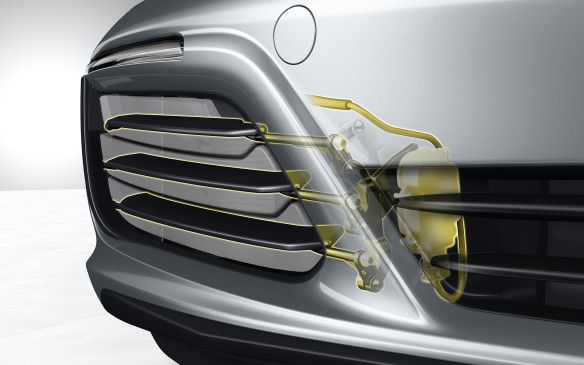 <p>If the car gets too hot, active cooling air flaps open to allow more air into the intakes, but they'll close at speeds above 15 km/h if the extra air isn't needed. This makes the car more aerodynamic.</p>