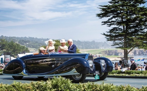 <p>It's the perfect setting for cars like this 1939 Bugatti Type 57C VanVooren Cabriolet.</p>