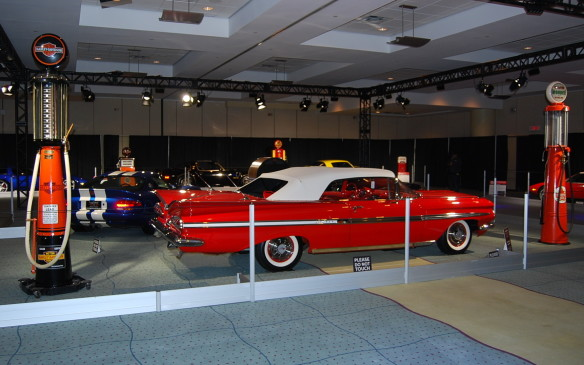 <p>The Legendary Motorcar Company opened its doors in 1985 and has been growing its dream of restoring and trading the finest of classic cars ever since. Many different gems are on display here, including this spectacular '59 Chevy Impala convertible and a few old gaspumps that are worth a look on their own.</p>