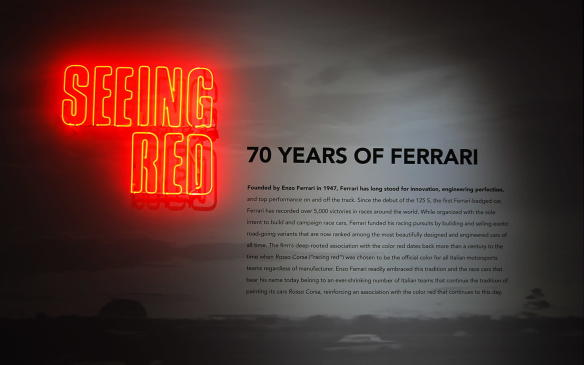 "<p>Ferrari's deep-rooted association with the colour red dates back more than a century to the time when Rosso Corsa (""racing red"") was chosen to be the official colour for all Italian motorsports teams regardless of manufacturer. Enzo Ferrari embraced that tradition and the race cars that bear his name continue to be painted Rosso Corsa to this day.</p>"