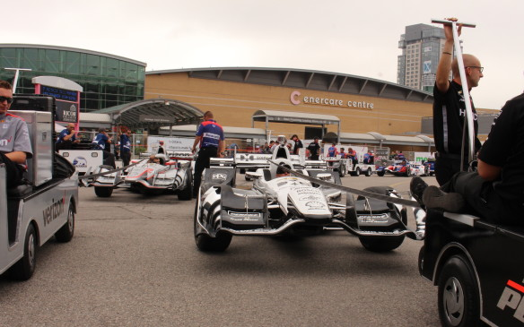 <p>It's not just Toronto's streets that suffer from traffic jams. The IndyCars had to line up waiting for access to the pits for their first practice session.</p>