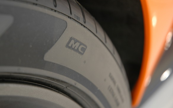 "<p>The ""MC"" logo moulded into the tires indicates they are specially developed for McLaren by Pirelli. PZero Corsas are standard, with regular PZeros a no-cost option. Tire sizes are 225/35R19 on the front and 285/35R20 on the rear.</p>"