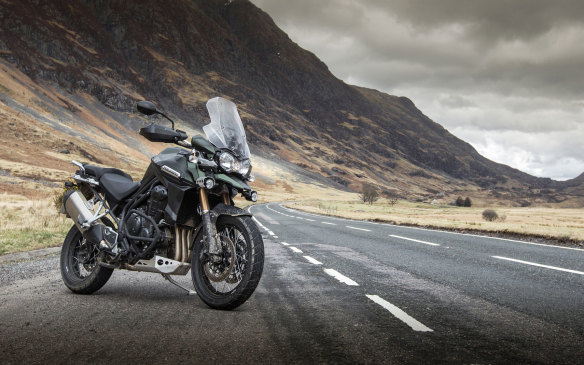 <p><strong>Close second: Triumph Explorer XC ($19,299)</strong> - The big Triumph is a 1,215-cc triple that makes 137 hp, and can also go pretty much anywhere. The XC version is more capable of handling gravel roads than its $15,899 sibling – it has a large skid plate underneath and crash bars and fog lights, among its extras.</p>