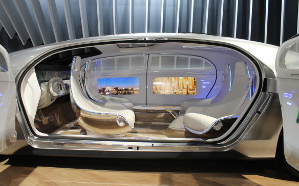 <p>It's very comfortable inside – more like a lounge than a car, with touch screen LED displays on the walls and doors.</p>