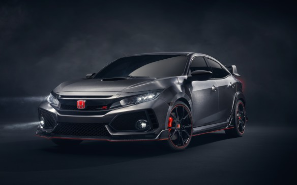 <p><strong>Honda Civic Type R Prototype –</strong> There's an abundance of riches in the performance hatch category these days, but this is one of the most hotly anticipated of them all: this prototype previews the Honda Civic Type R that after a long hiatus is finally returning to our shores later this year. Design highlights include the new hood intake, smoked light covers, 20-inch piano black alloy wheels, carbo fibre diffuser and, of course, the iconic red H badge.</p>