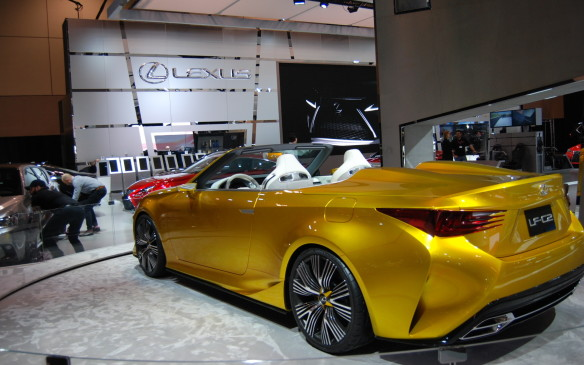 <p>This gold Lexus LF-C2 just might have you feel like you're winning the Golden Ticket.</p>