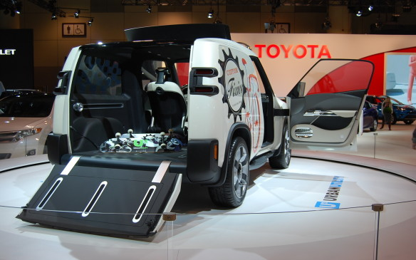 <p>Yup - that's right.  This is Toyota's version of U2.  Well, u - squared, as in Urban Utility vehicle.  Its a pretty neat concept, worth checking out.  Don't expect to see the band. </p>