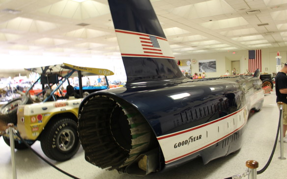 <p>The powerful gas turbine engine used in some 1967-68 Indy cars was dwarfed by the GE J79 jet engine from an F-4 Phantom II fighter that propelled the Spirit of America Sonic 1 to a world land-speed record.</p>