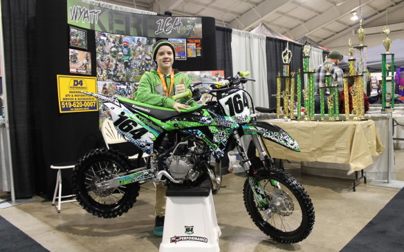 "<p>There were plenty of kids – even a 12-year-old dirt racer there to show off his 85cc Kawasaki and his motocross trophies. ""My dad started me out on a Suzuki 50 in 2006,"" says Wyatt Kerr, of Cambridge, Ontario. ""And then I moved up and I started loving the sport, and I started winning races and enjoying it more and more.""</p>"
