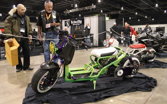 """<p>This pint-sized Honda Ruckus dragster looks like a kid's bike, but it's anything but.</p> <p>""""You can have a regular Ruckus, or you can have this. It's a $15,000 difference,"""" says builder Danny Haig of Toronto's Champion Cycle. """"This one will go about 110 km/h. It feels like death. I've done it myself. You can tell it's not meant to go that fast.""""</p>"""