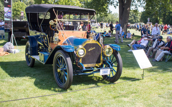 <p>Cars on display ranged from brass-era beauties like this 1910 Auburn Model X, and others even older…</p>