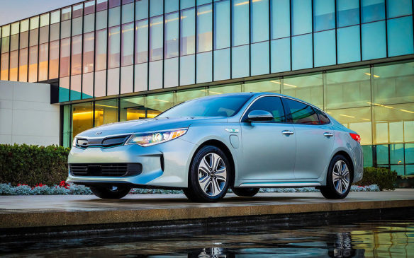 <p>The all-electric range on the new Kia Optima plug-in hybrid is unofficially a tick over 50 km, which is one of the highest figures in the large sedan class. Pricing starts at $42,995 before incentives for the EX model, which includes key features such as blind spot detection and autonomous emergency braking, but for $45,495 buyers can add niceties like air-cooled seats and a panoramic sunroof.</p>
