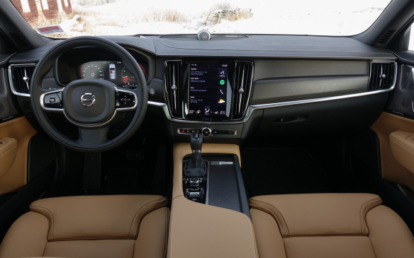 <p>The V90 Cross Country also shares the remarkably clean, modern and uncluttered design of its instrument panel with the new V90 and S90. This black walnut trim and a dark aluminum shade, the only choices, are exclusive to this model. The large, vertical touch screen of the Sensus control interface, dead centre, explains the scarcity of buttons and switches. The numerous menus and controls hiding within are accessed by swiping the screen. You will get used to it quicker than you think. The grainier, stockier seat leather, with bigger stitches, is a staple of the Cross Country.</p>