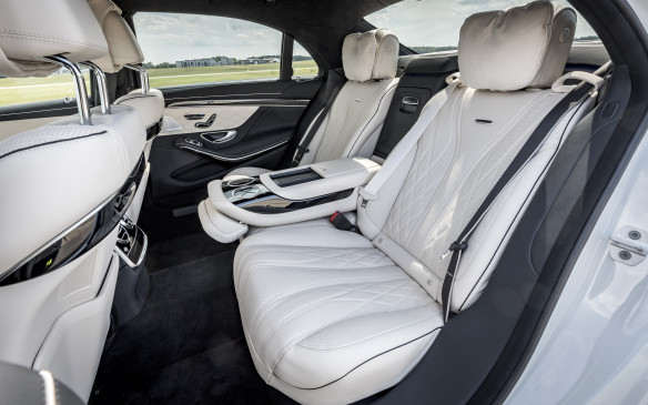 <p>Our long-wheelbase S560 was equipped with Premium Rear Seating, which reclines the seats at the back and will even move the front passenger seat forward to create extra leg room.</p>
