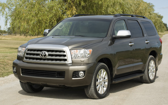 <p>8. Toyota Sequoia – Tearing a page from its domestic competition's playbook, Toyota built its big Sequoia SUV atop the rigid bones of its Tundra pickup truck, donning a four-door wagon body and an independent, multi-link rear suspension complete with double wishbones and coil springs. Powering the eight-seater Sequoia is an all-aluminum 5.7-L DOHC V-8 engine, rippling with 381 hp and 401 lb-ft of stump-pulling torque.</p>